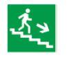 Знак «Направление к эвакуационному выходу (по лестнице направо вниз)» 150х150мм