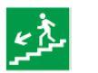 Знак «Направление к эвакуационному выходу (по лестнице налево вниз)» 150х150мм