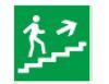 Знак «Направление к эвакуационному выходу (по лестнице направо вверх)» 150х150мм