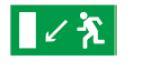 Знак «Направление к эвакуационному выходу налево вниз» 200х100мм
