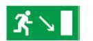 Знак «Направление к эвакуационному выходу направо вниз» 200х100мм