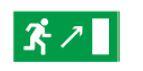 Знак «Направление к эвакуационному выходу направо вверх» 200х100мм