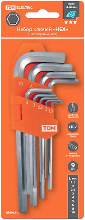 """Набор ключей """"HEX"""" 9 шт.: 1.5-10 мм, длинные, (держатель в блистере), CR-V сталь """"Алмаз"""""""