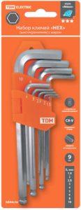 """Набор ключей """"HEX"""" 9 шт.: 1.5-10 мм, длинные с шаром, (держатель в блистере), CR-V сталь """"Алмаз"""""""