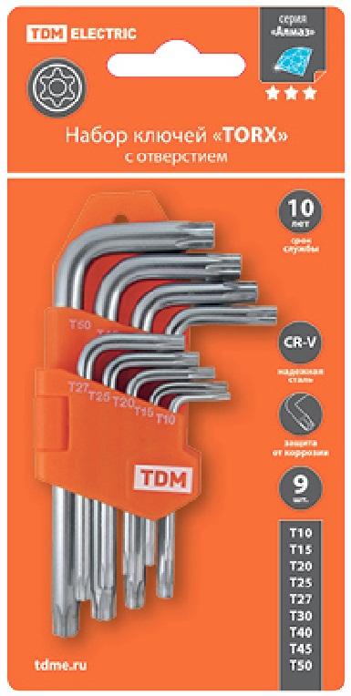 """Набор ключей """"TORX"""" с отверстием 9 шт: Т10-Т50 (держатель в блистере), CR-V сталь """"Алмаз"""""""