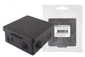 Распаячная коробка ОП 80х80х50мм, крышка, IP54, 7вх., черная