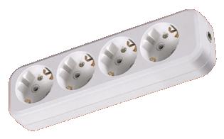 Колодка розеточная 4 гнезда 2П+3 16А 250В белая