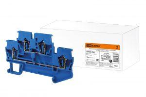 Двухуровневый зажим клеммный безвинтовой (ДЗКБ) 1,5 мм2 17,5А синий