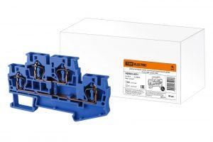 Двухуровневый зажим клеммный безвинтовой (ДЗКБ) 4 мм2 40А синий