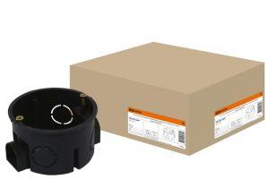 Установочная коробка СП D60х40мм, саморезы, стыковочные узлы, синяя, IP20,