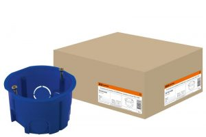 Установочная коробка СП D68х45мм, саморезы, синяя, IP20