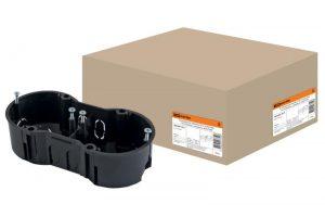 Установочная коробка СП 2-х местная, 141х70х45мм, саморезы, IP20