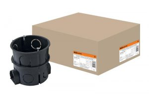 Установочная коробка СП D65х65мм, углубленная, саморезы, стыковочные узлы, IP20