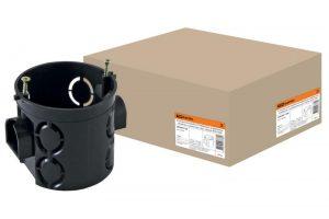 Установочная коробка СП D68х62мм, углубленная, саморезы, стыковочные узлы, черная, IP20