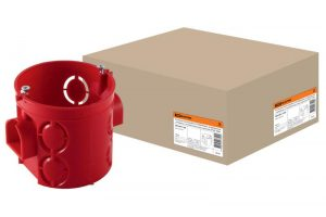 Установочная коробка СП D68х62мм, углубленная, саморезы, стыковочные узлы, красная, IP20