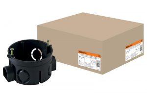 Установочная коробка СП D68х42мм, саморезы, стыковочные узлы, черная, IP20,