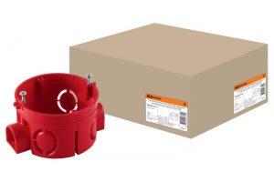 Установочная коробка СП D68х42мм, саморезы, стыковочные узлы, красная, IP20