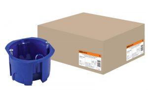 Установочная коробка СП D65х45мм, саморезы, синяя, IP20