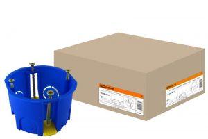 Установочная коробка СП D68х45мм, саморезы, пл. лапки, синяя, IP20