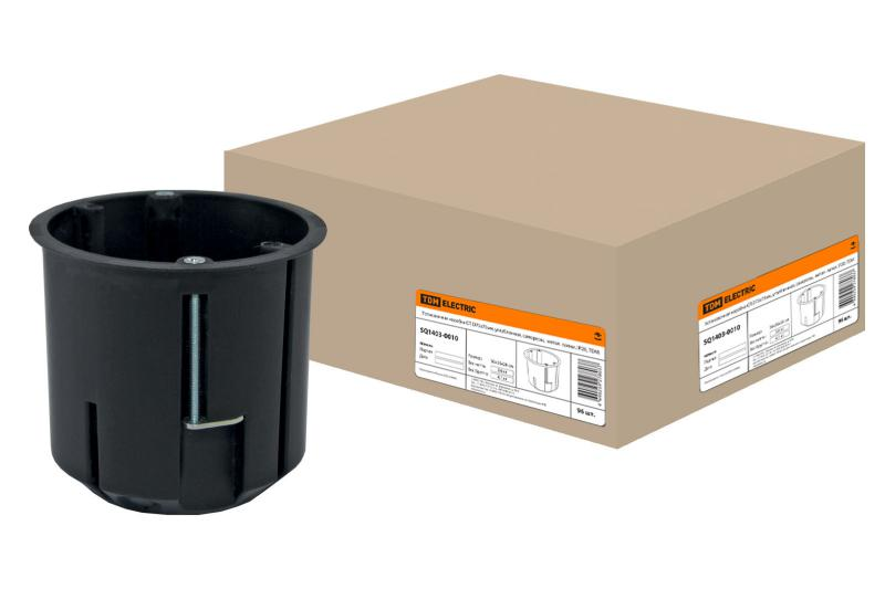 Установочная коробка СП D73х73мм, углубленная, саморезы, метал. лапки, IP20