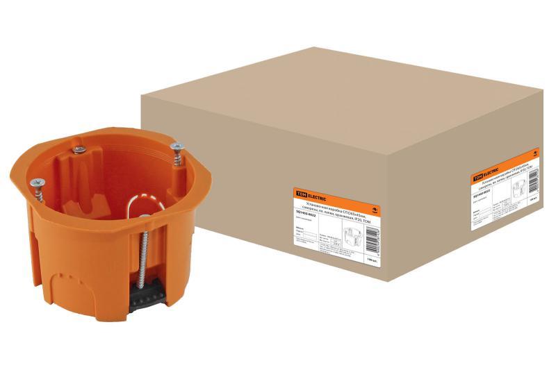 Установочная коробка СП D65х45мм, саморезы, пл. лапки, оранжевая, IP20,