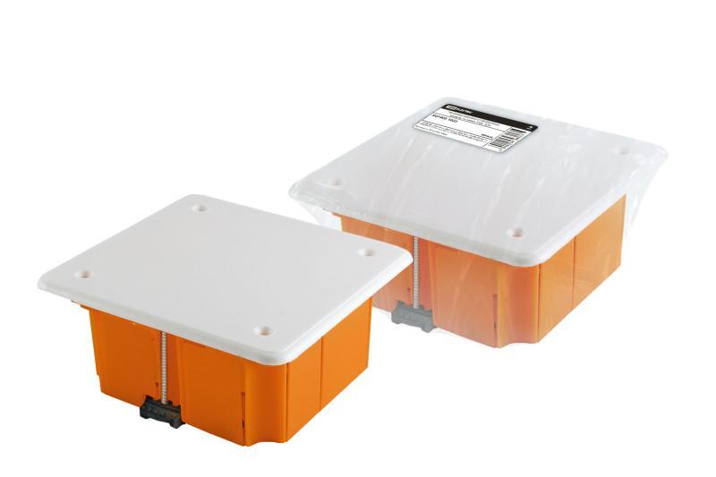 Распаячная коробка СП 92х92х45мм, крышка, пл. лапки, IP20, инд. штрихкод