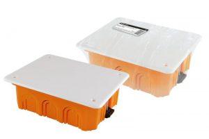 Распаячная коробка СП 120х92х45мм, крышка, пл. лапки, IP20, инд. штрихкод