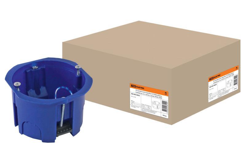Установочная коробка СП D65х45мм, саморезы, пл. лапки, синяя, IP20