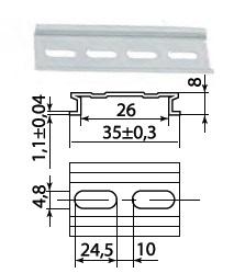 DIN-рейка алюминиевая усиленная 1м