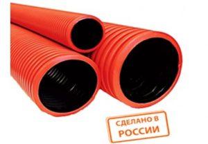 Трубы гофрированные двустенные из ПНД красные