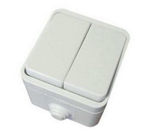 Выключатель 2-кл. OУ IP44 10А белый Орель