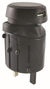 Тревел-адаптер 100-250В 2,5A (5 в 1)